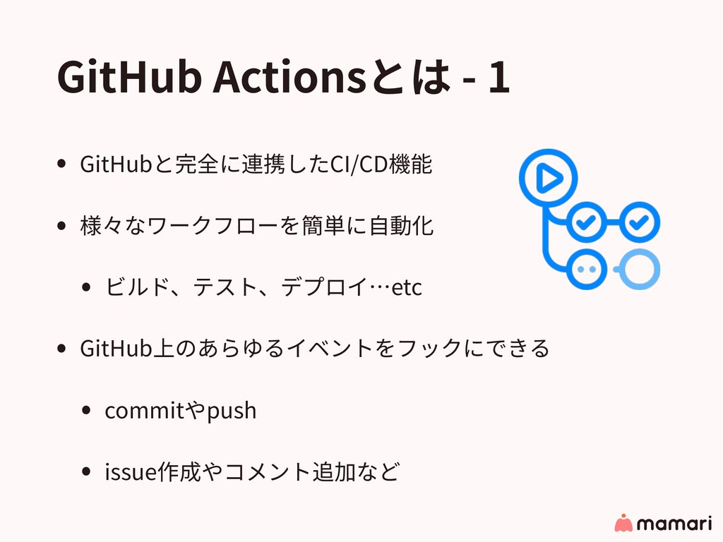 GitHub Actionsとは - 1 • GitHubと完全に連携したCI/CD機能 • ...