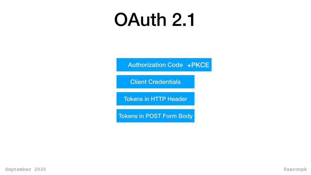 @aaronpk September 2020 OAuth 2.1 Authorization...