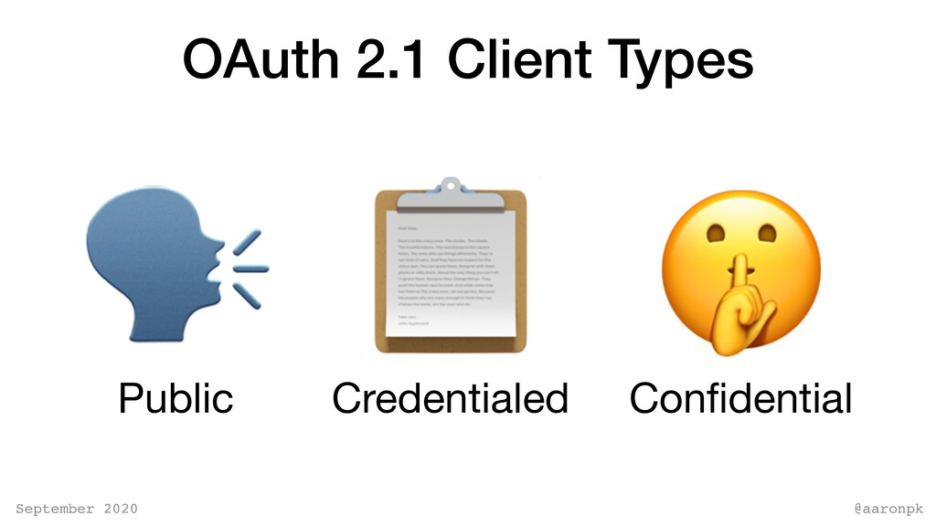 @aaronpk September 2020 OAuth 2.1 Client Types ...