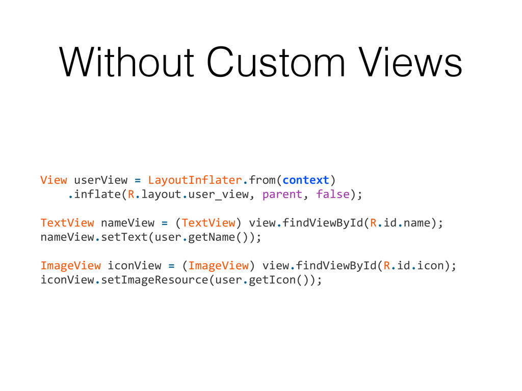 Without Custom Views View userView = L...