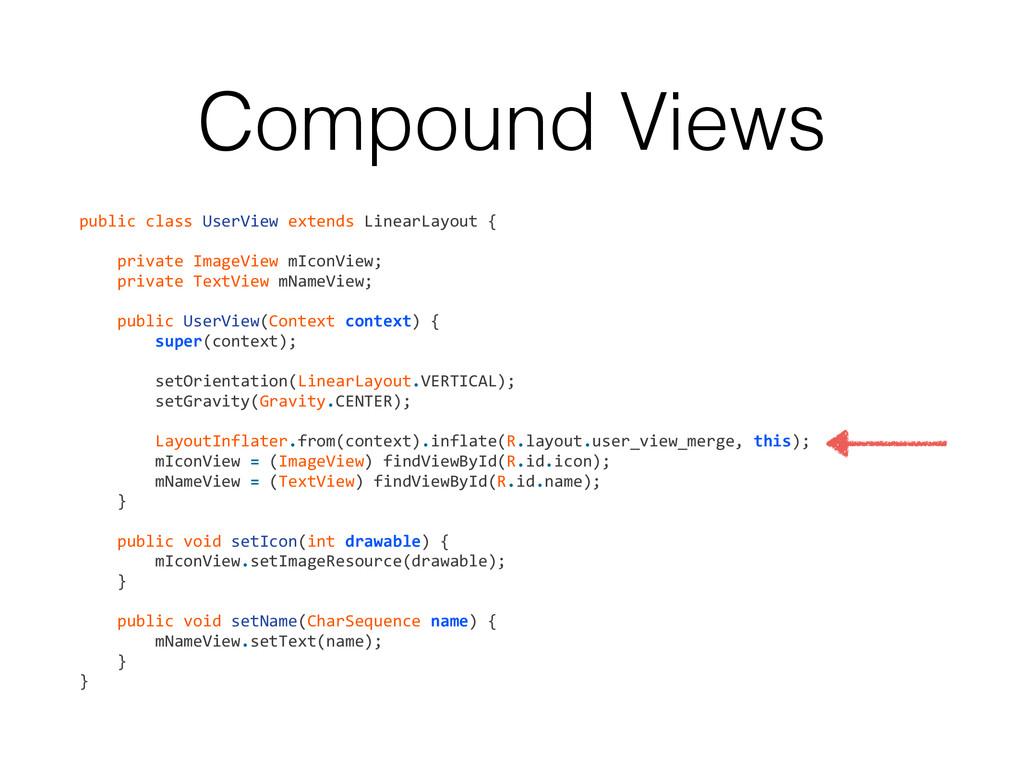Compound Views public class UserView e...
