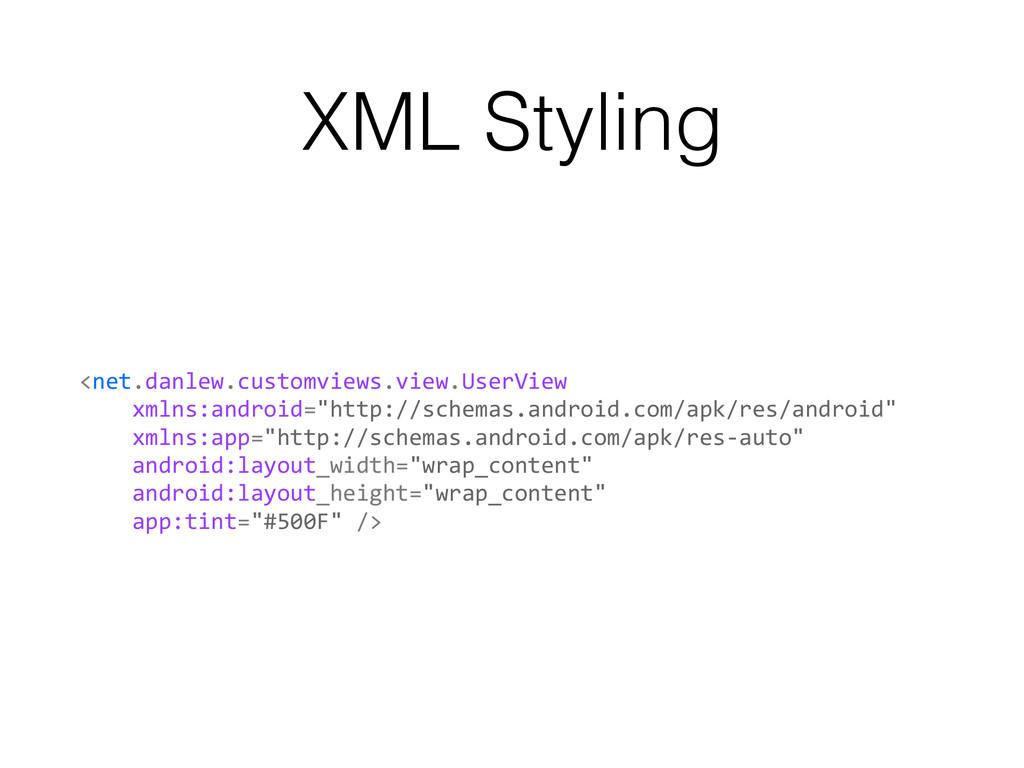 XML Styling <net.danlew.customviews.view.UserVi...