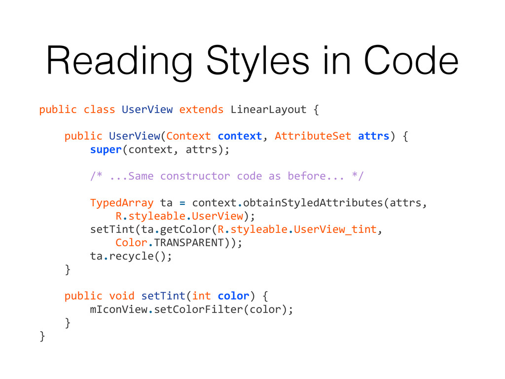 Reading Styles in Code public	
