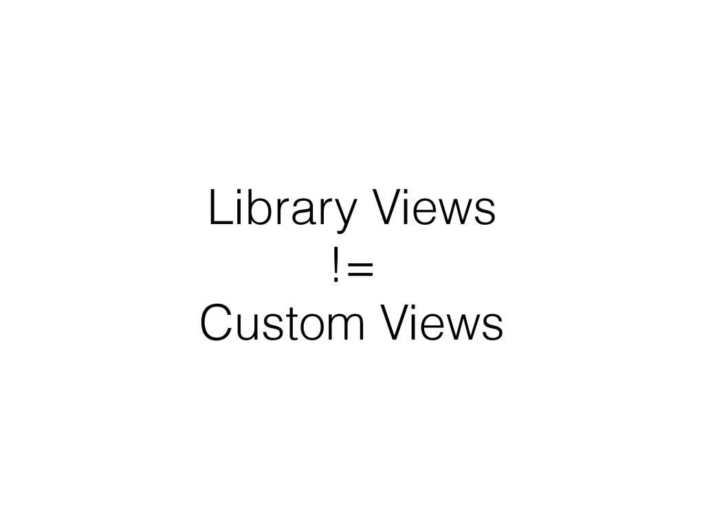 Library Views != Custom Views
