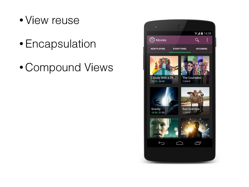• View reuse • Encapsulation • Compound Views