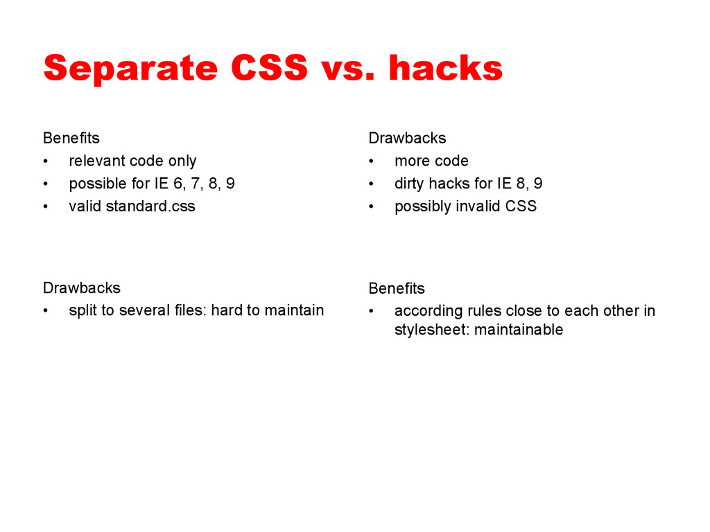 Separate CSS vs. hacks Benefits • relevant cod...