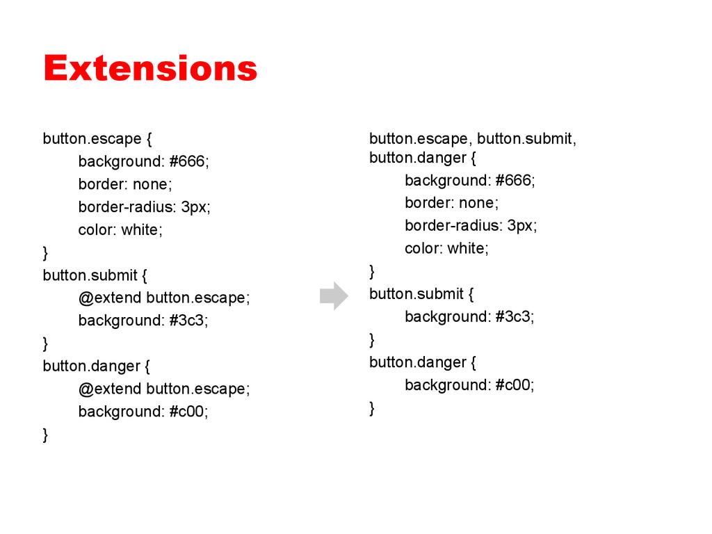 Extensions button.escape { background: #666; bo...