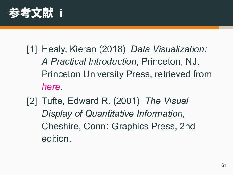参考文献 i [1] Healy, Kieran (2018) Data Visualizat...