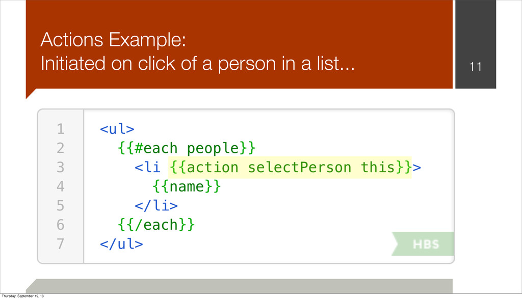 11 Actions Example: Initiated on click of a per...