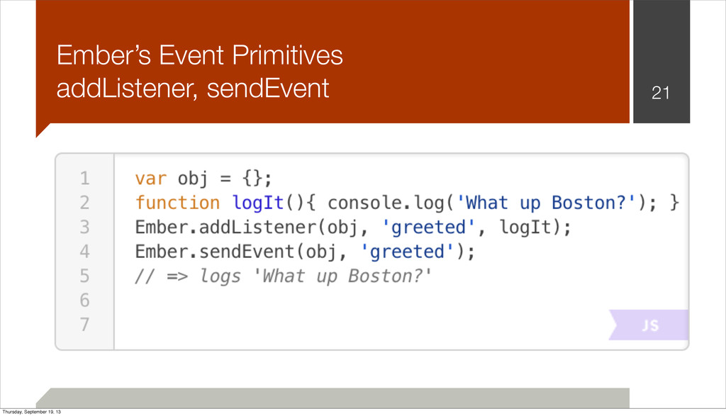 Ember's Event Primitives addListener, sendEvent...