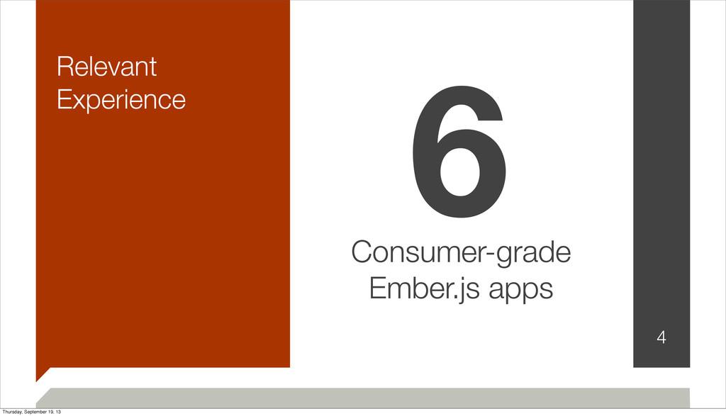 Relevant Experience 4 6 Consumer-grade Ember.js...