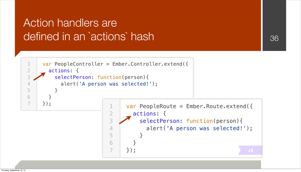 Action handlers are defined in an `actions` hash...
