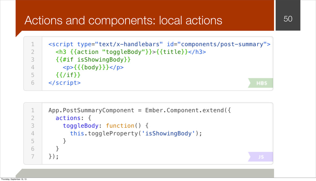 Actions and components: local actions 50 Thursd...