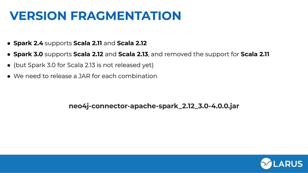 VERSION FRAGMENTATION ● Spark 2.4 supports Scal...
