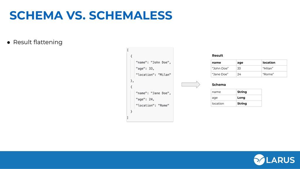 SCHEMA VS. SCHEMALESS ● Result flattening name S...