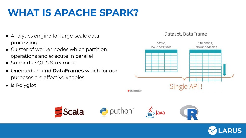 WHAT IS APACHE SPARK? ● Analytics engine for la...