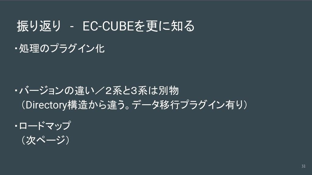 振り返り - EC-CUBEを更に知る ・処理のプラグイン化 ・バージョンの違い/2系と3系は...