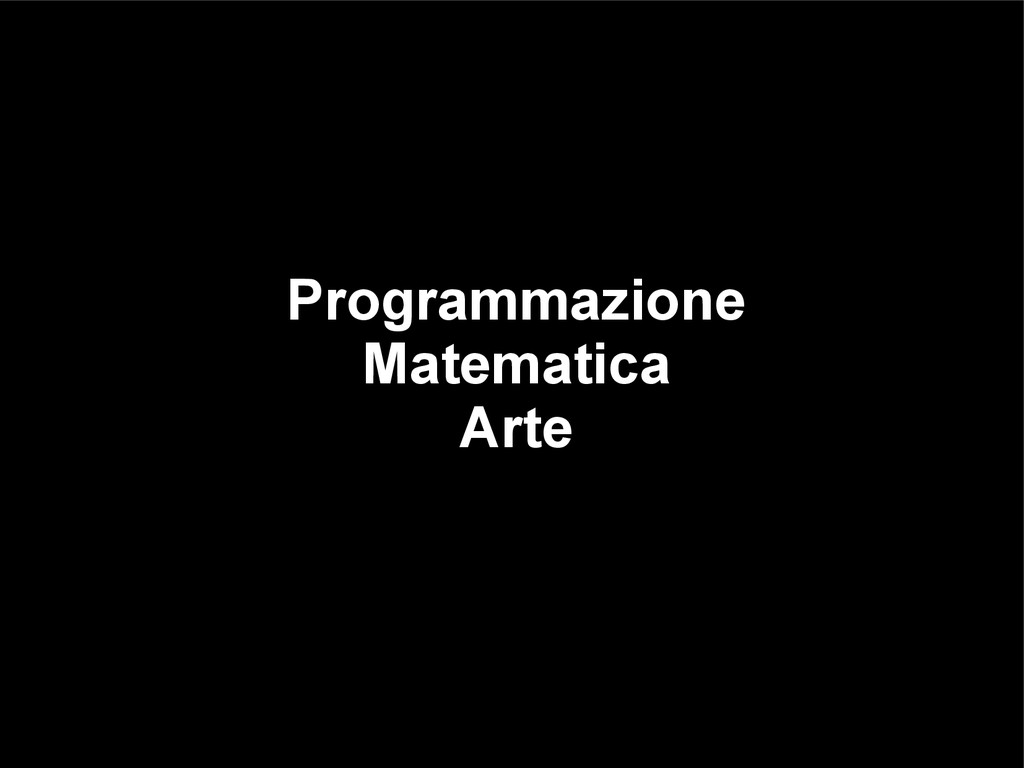 Programmazione Matematica Arte