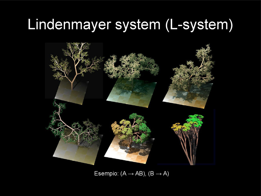 Lindenmayer system (L-system) Esempio: (A → AB)...