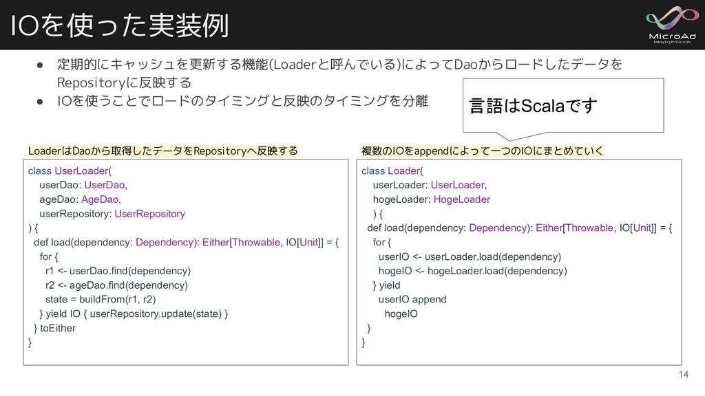 IOを使った実装例 ● 定期的にキャッシュを更新する機能(Loaderと呼んでいる)によってD...