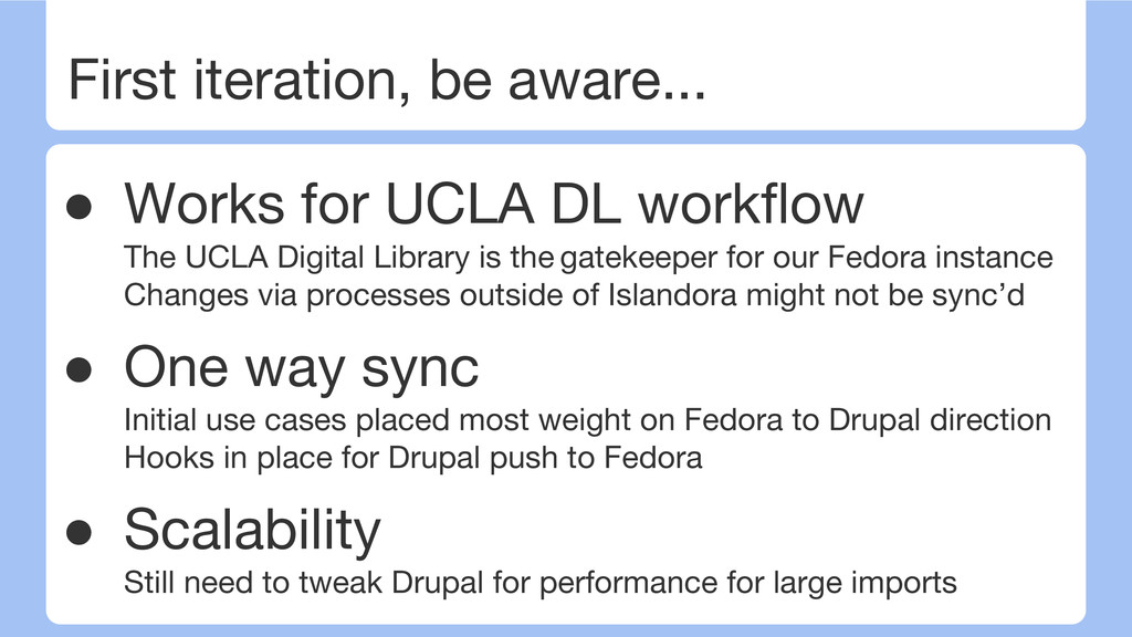 First iteration, be aware... ● Works for UCLA D...