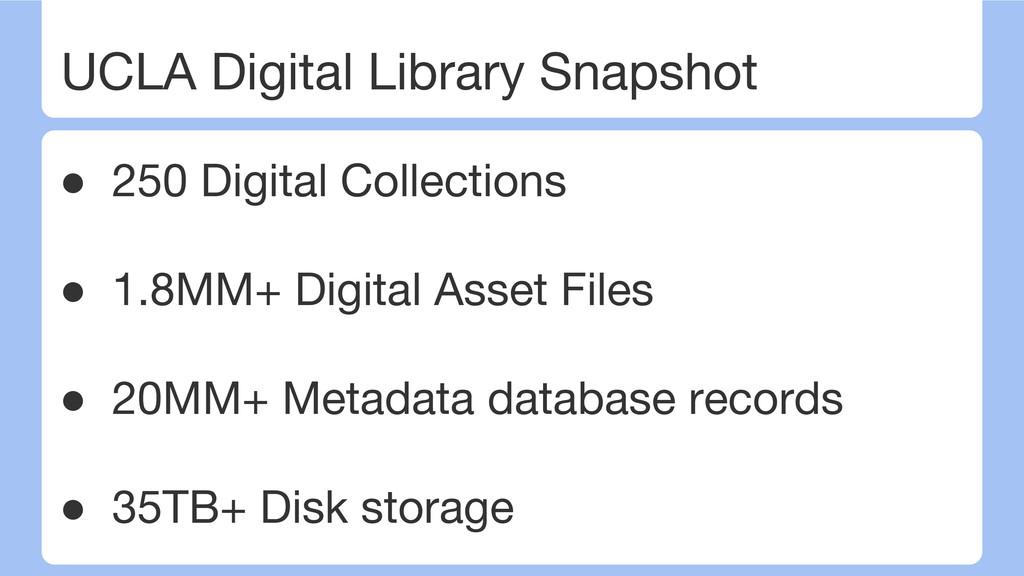 UCLA Digital Library Snapshot ● 250 Digital Col...