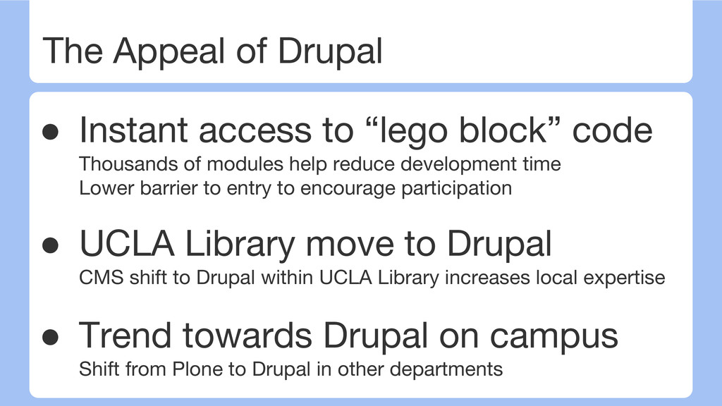 "The Appeal of Drupal ● Instant access to ""lego ..."