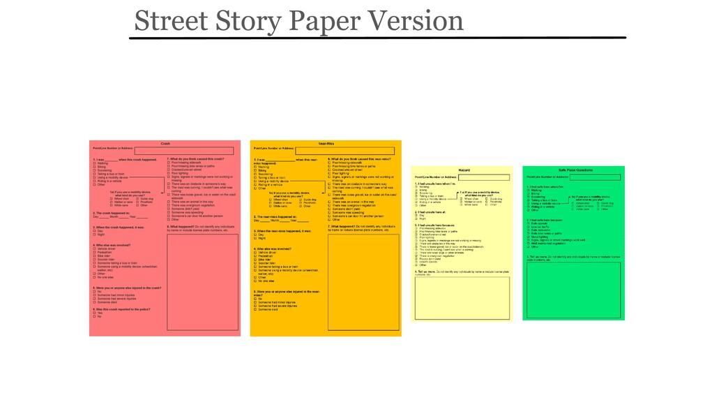 Street Story Paper Version