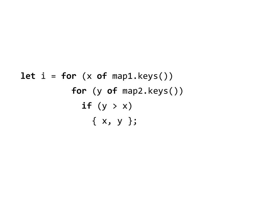 let i = for (x of map1.keys()...