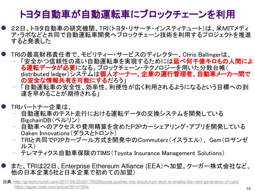14 トヨタ自動車が自動運転車にブロックチェーンを利用 出典:http://jp.techcr...