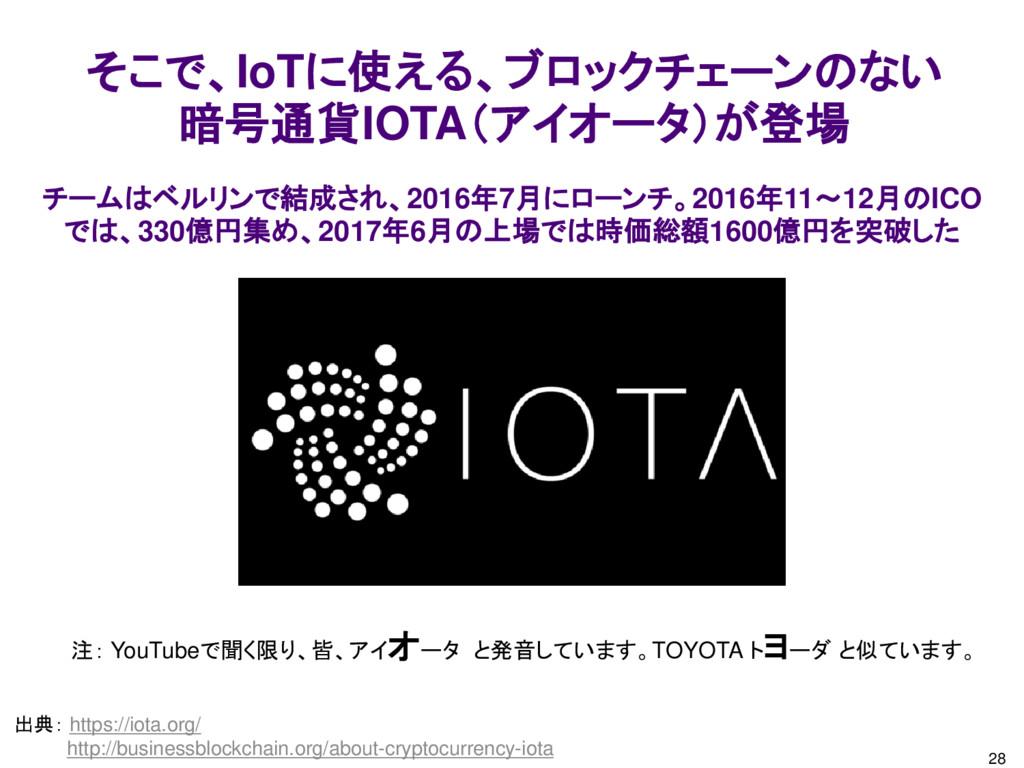 28 そこで、IoTに使える、ブロックチェーンのない 暗号通貨IOTA(アイオータ)が登場 出...