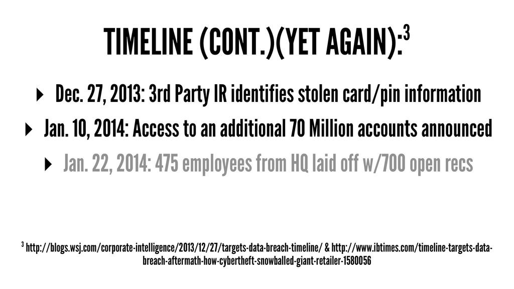 TIMELINE (CONT.)(YET AGAIN):3 ▸ Dec. 27, 2013: ...