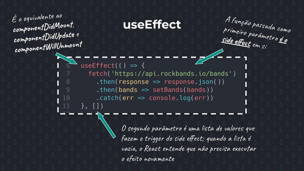 useEffect É o equivalente ao componentDidMount,...