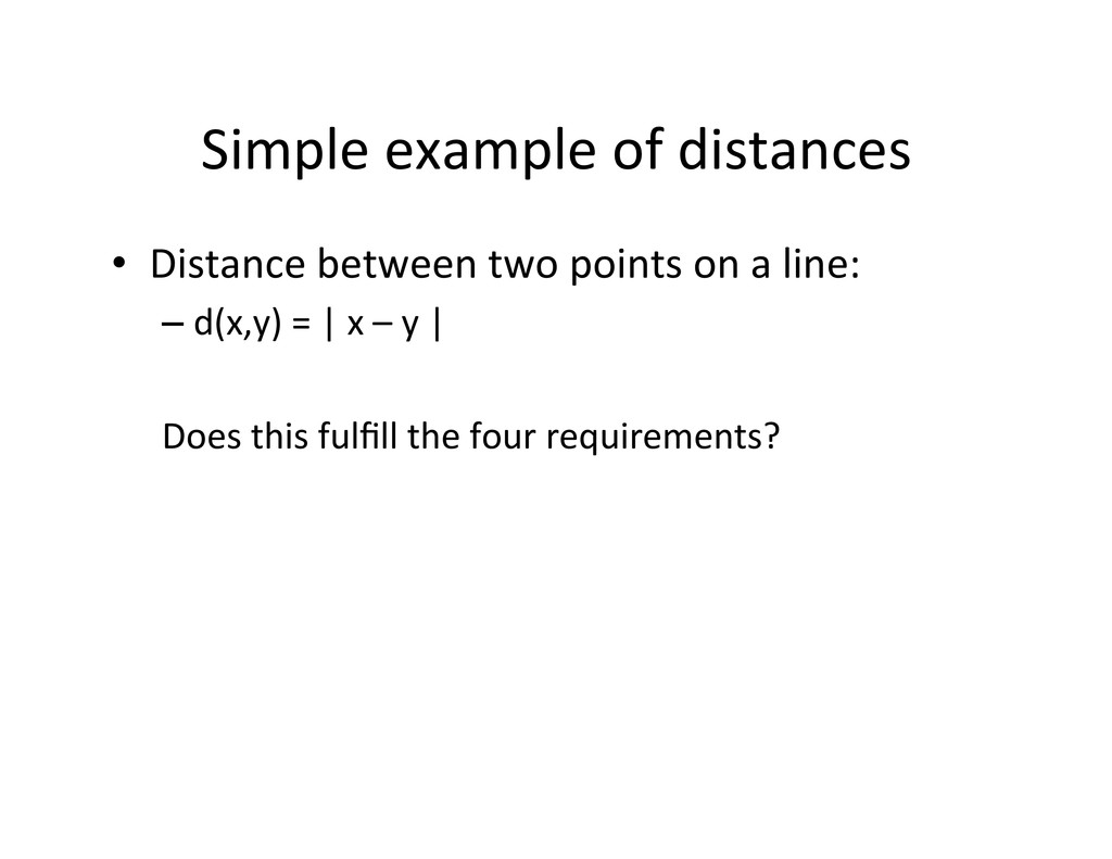 Simple example of distances  • Dis...