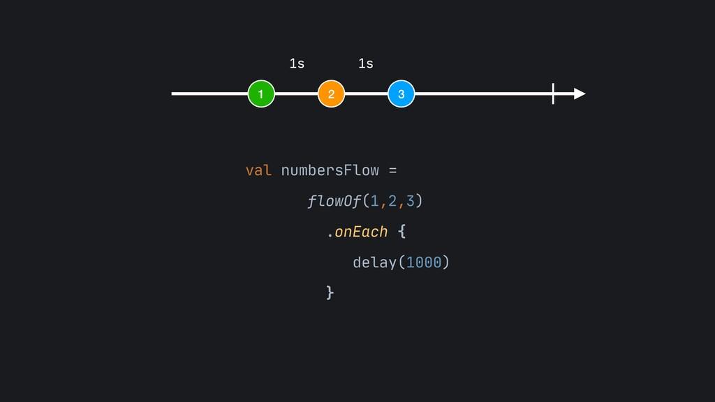 1 2 3 1s 1s val numbersFlow =   flowOf(1,2,3)  ...