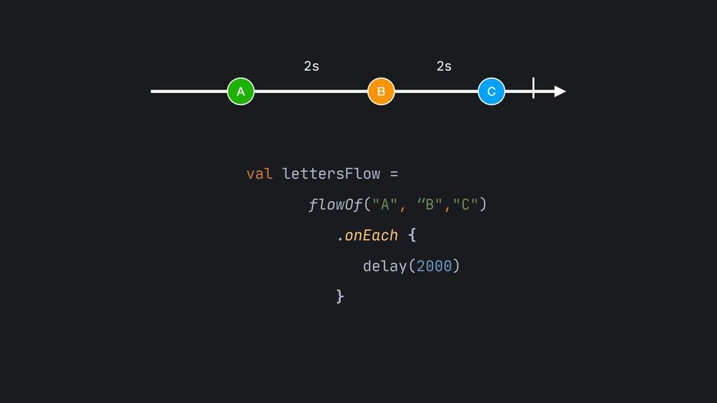 """A B C 2s 2s val lettersFlow =   flowOf(""""A"""", """"B""""..."""