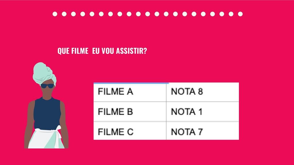 QUE FILME EU VOU ASSISTIR?