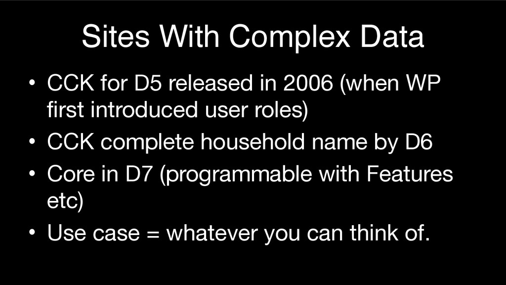 Sites With Complex Data • CCK for D5 released i...