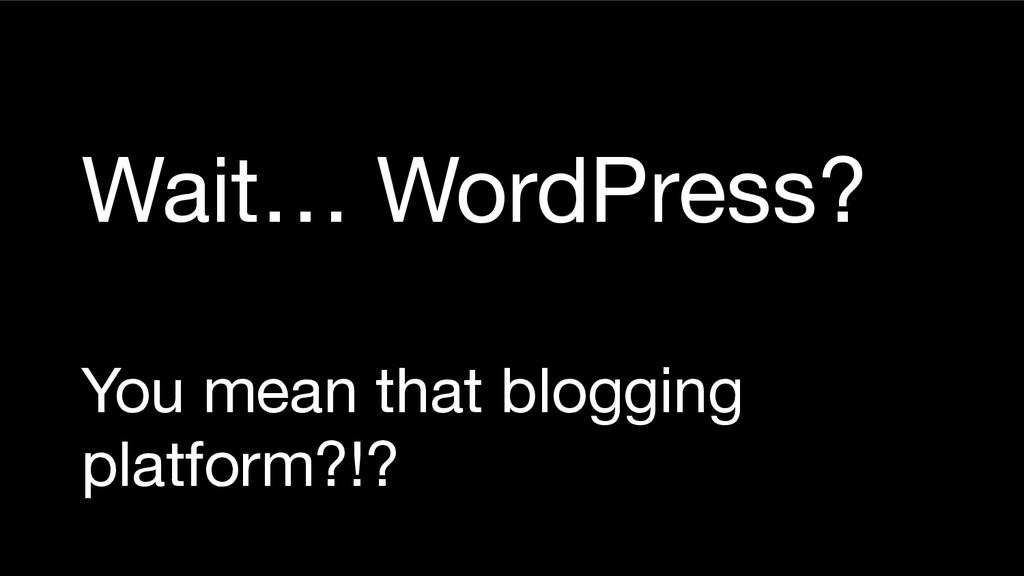 Wait… WordPress? You mean that blogging platfor...