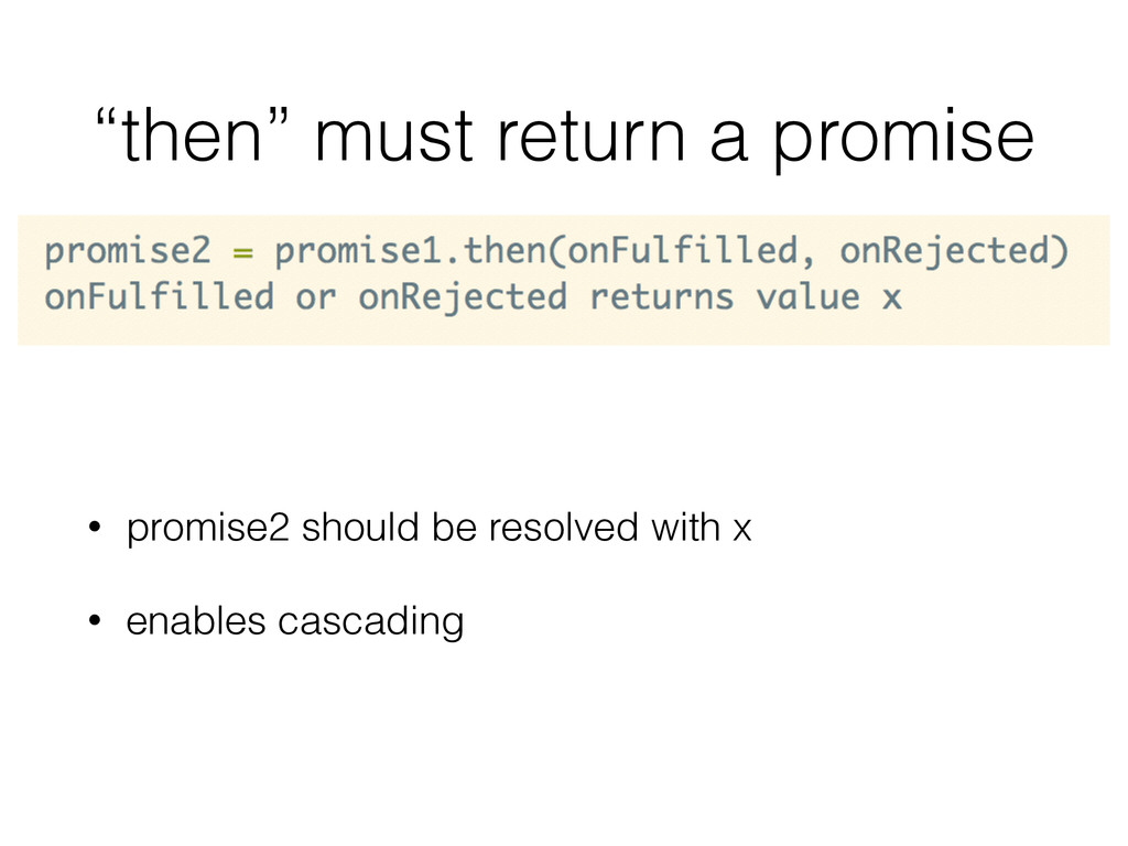 """then"" must return a promise • promise2 should ..."