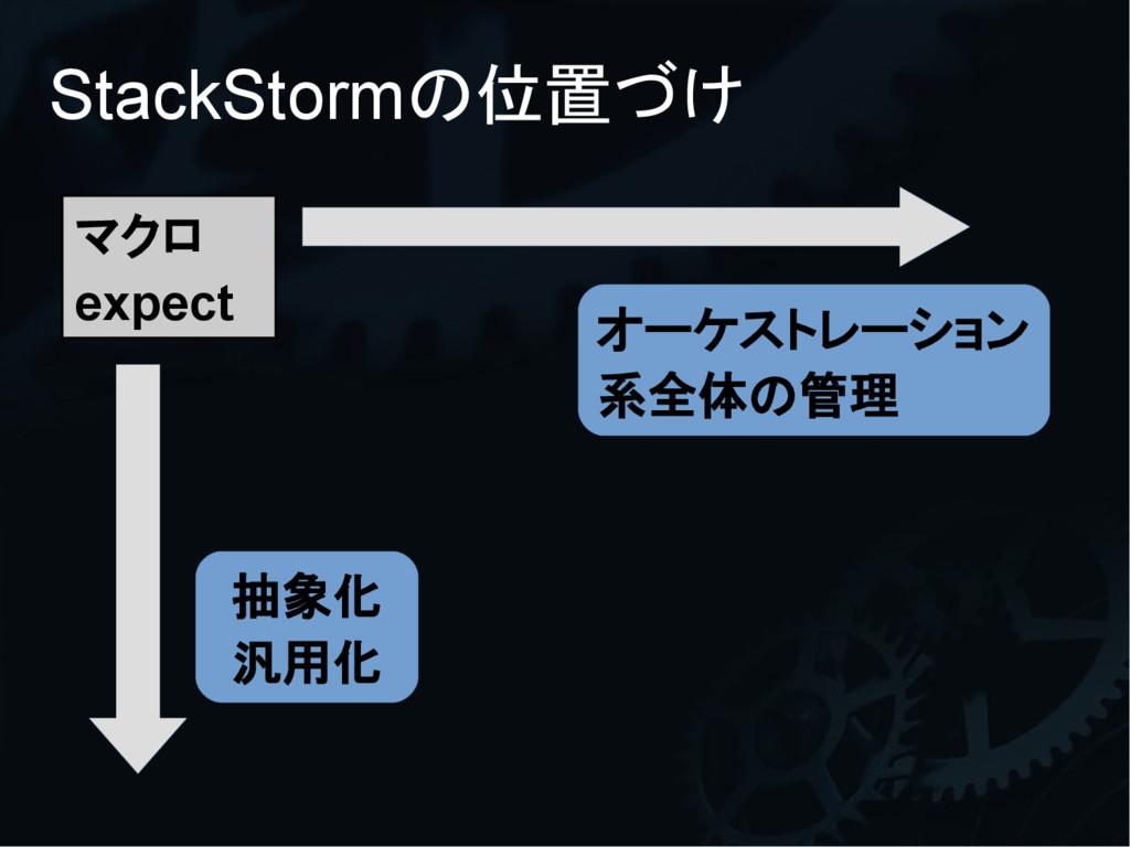 StackStormの位置づけ マクロ expect 抽象化 汎用化 オーケストレーション 系...