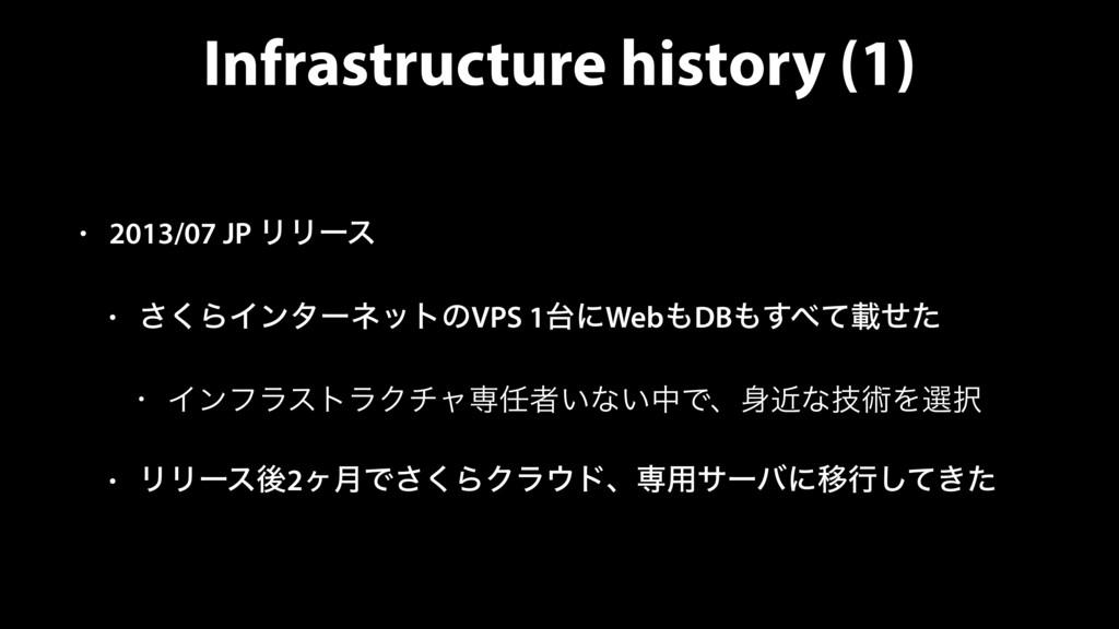 Infrastructure history (1) • 2013/07 JP ϦϦʔε • ...