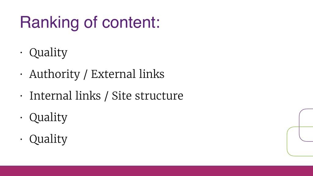 • Quality • Authority / External links • Intern...
