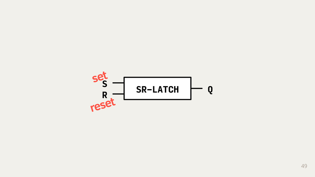 49 SR-LATCH S R Q set reset
