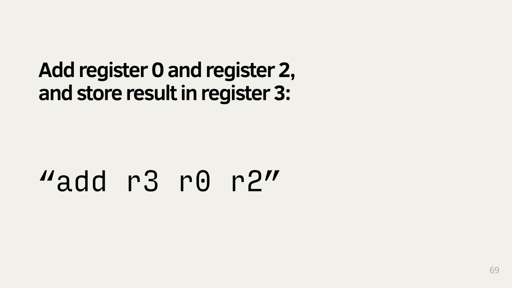 "69 ""add r3 r0 r2"" Add register 0 and register 2..."