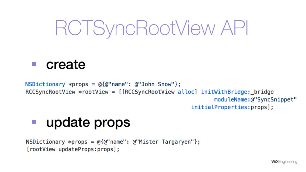 RCTSyncRootView API § create § update props