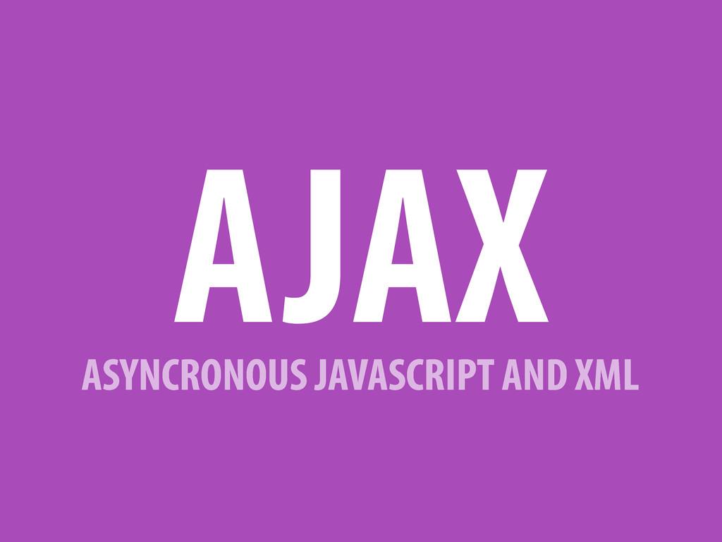 ASYNCRONOUS JAVASCRIPT AND XML AJAX