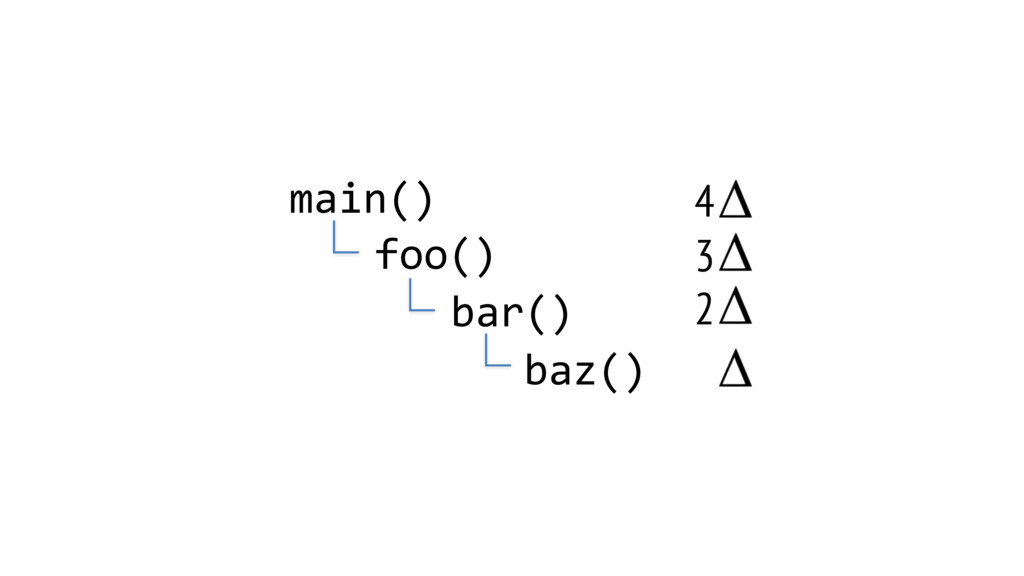 main() foo() bar() baz() 2 3 4