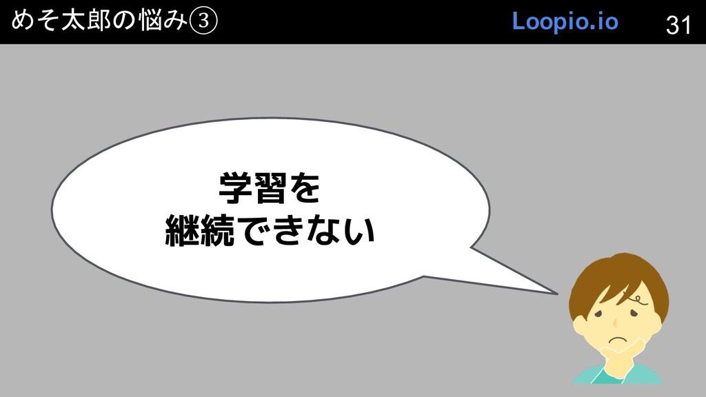 めそ太郎の悩み③ 学習を 継続できない 31 Loopio.io