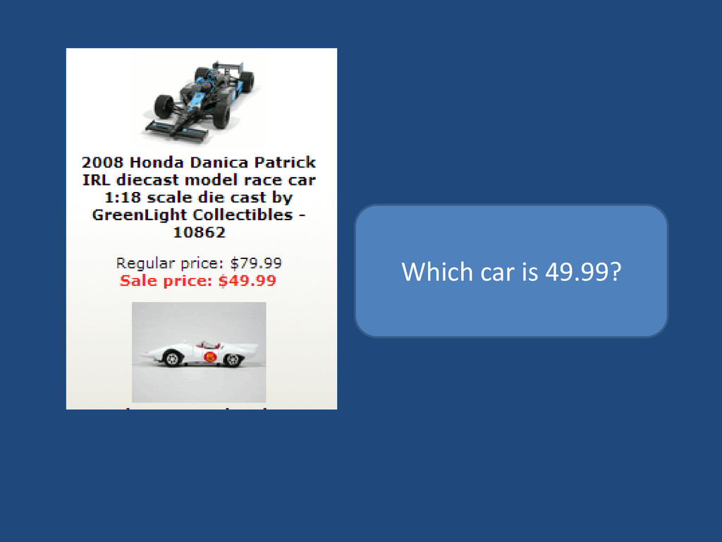 Which car is 49.99?